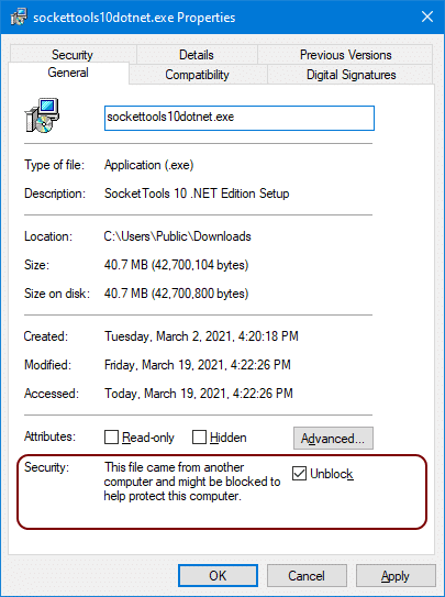 File properties for the SocketTools installer