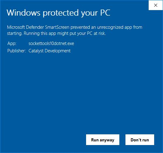 Windows SmartScreen warning with more information