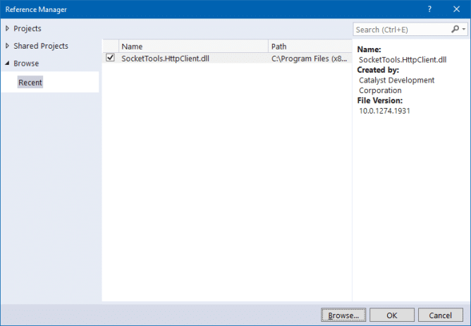 Visual Studio 2019 Reference Manager