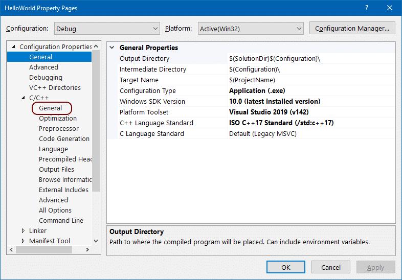 Visual Studio 2019 Project Properties