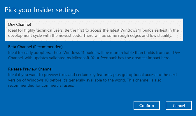 Windows Insider Channel Selection